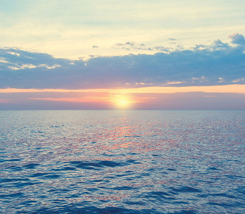 Sunset over the ocean. Offshore oil has a significant impact on the economy of Newfoundland and Labrador.