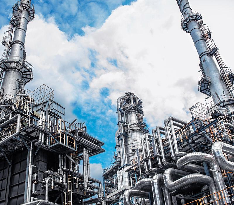 Oil refinery from below.